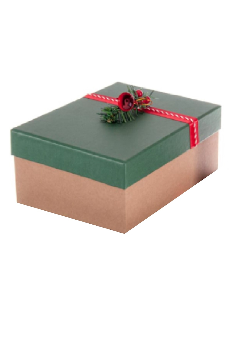Kraft Hediye Kutusu Süslü Yeşil Kapaklı 32 x 23 x 12cm 1 Adet