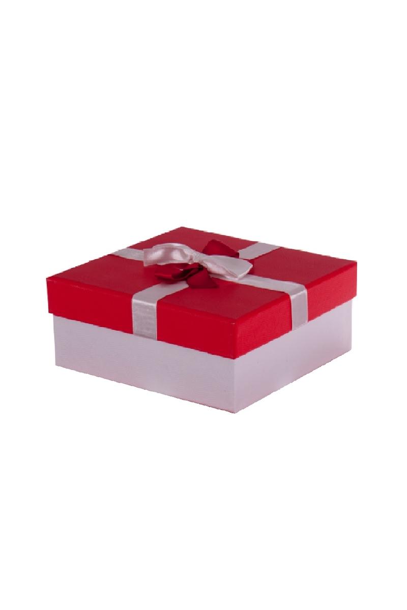 Kurdeleli Kırmızı Kapaklı Beyaz Hediye Kutusu 19,5 x 19,5 x 7,5cm