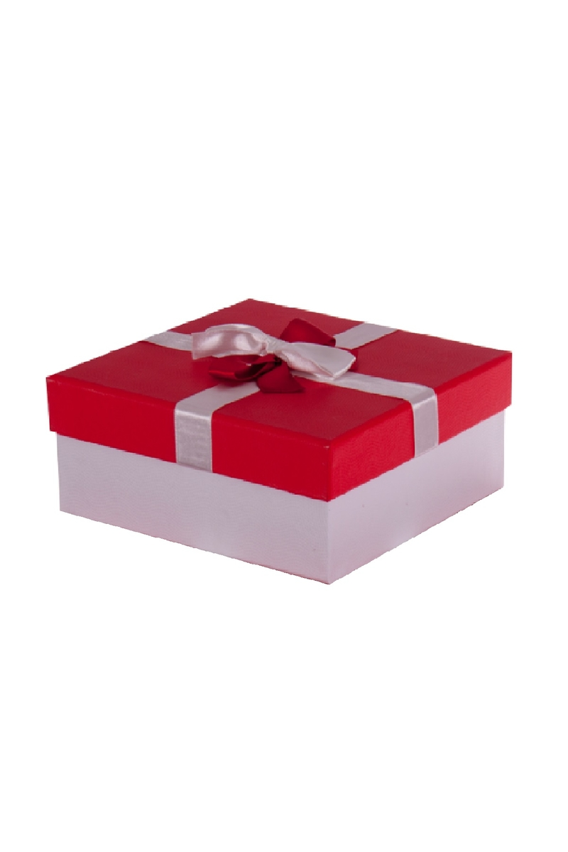Kurdeleli Kırmızı Kapaklı Beyaz Kare Hediye Kutusu 22,5 x 22,5 x 9,5cm