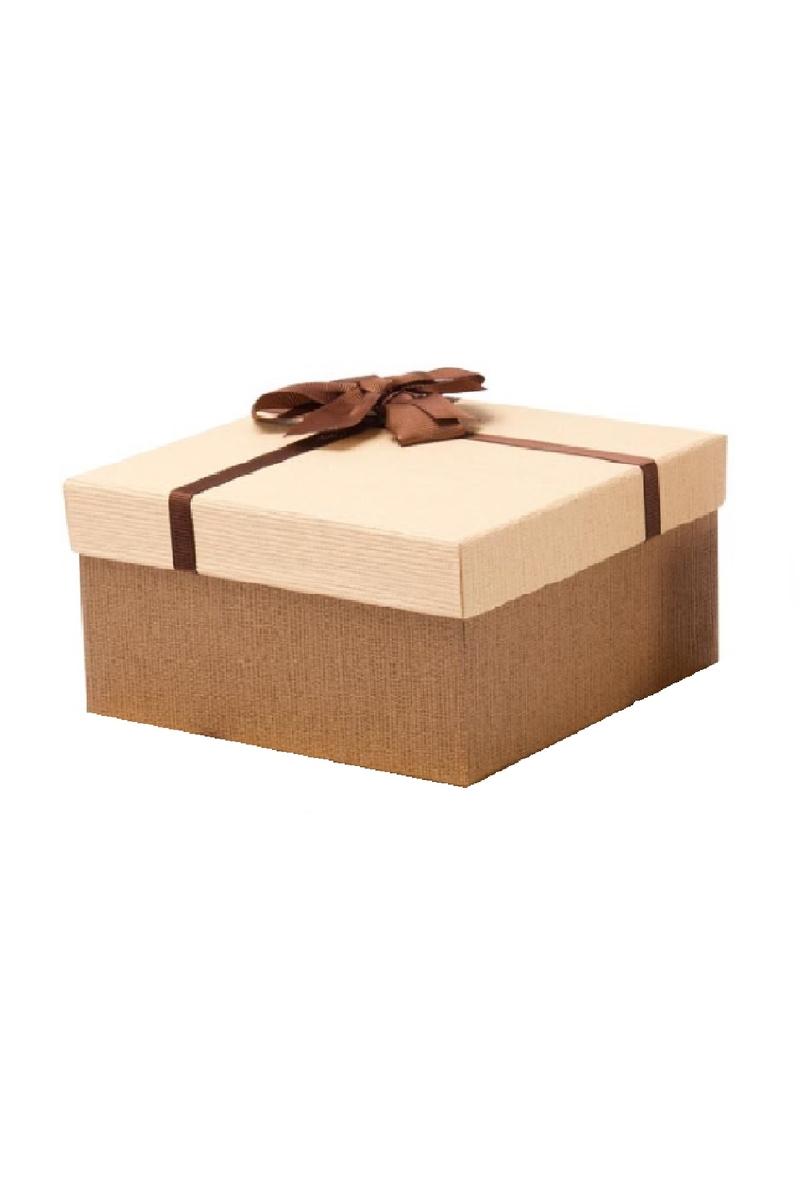 Kurdeleli Krem Kapaklı Kahverengi Lüks Kutu 16 x 16 x 7,5cm 1 Adet