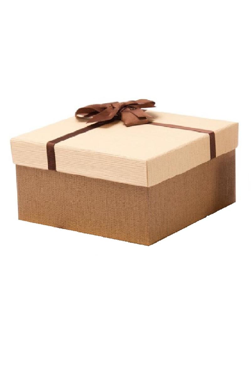 Kurdeleli Krem Kapaklı Kahverengi Lüks Kutu 18 x 18 x 8cm 1 Adet