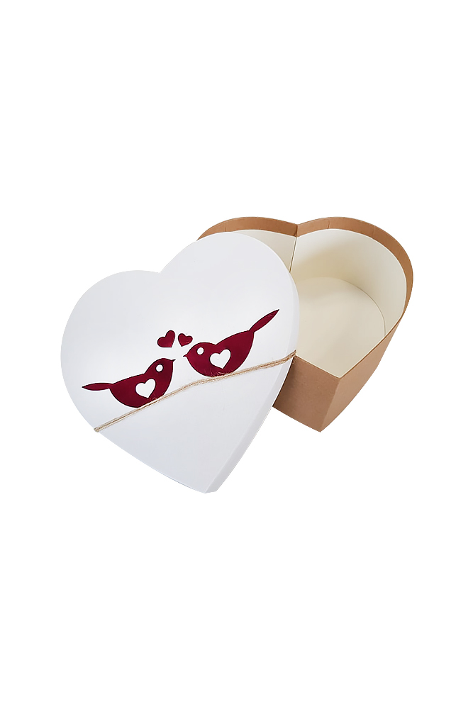 Kuş Kabartmalı Kraft Kalp Hediye Kutusu 19 x 18 x 8cm 1 Adet - Thumbnail