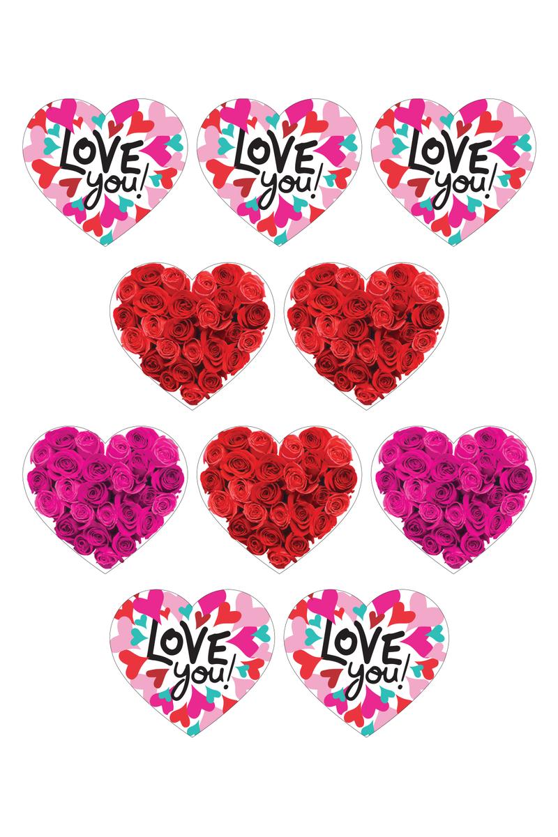 Love You ve Güller Kalp Sticker 5 x 5cm 10 lu