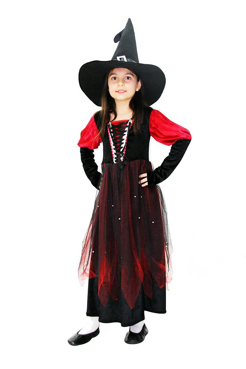 Lüks Cadı Çocuk Kostümü 5-6 Yaş 1 Adet - Thumbnail