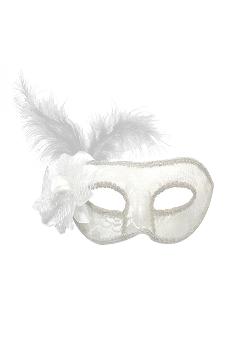 Lüks Maske Dantelli Çiçekli Beyaz 1 Adet