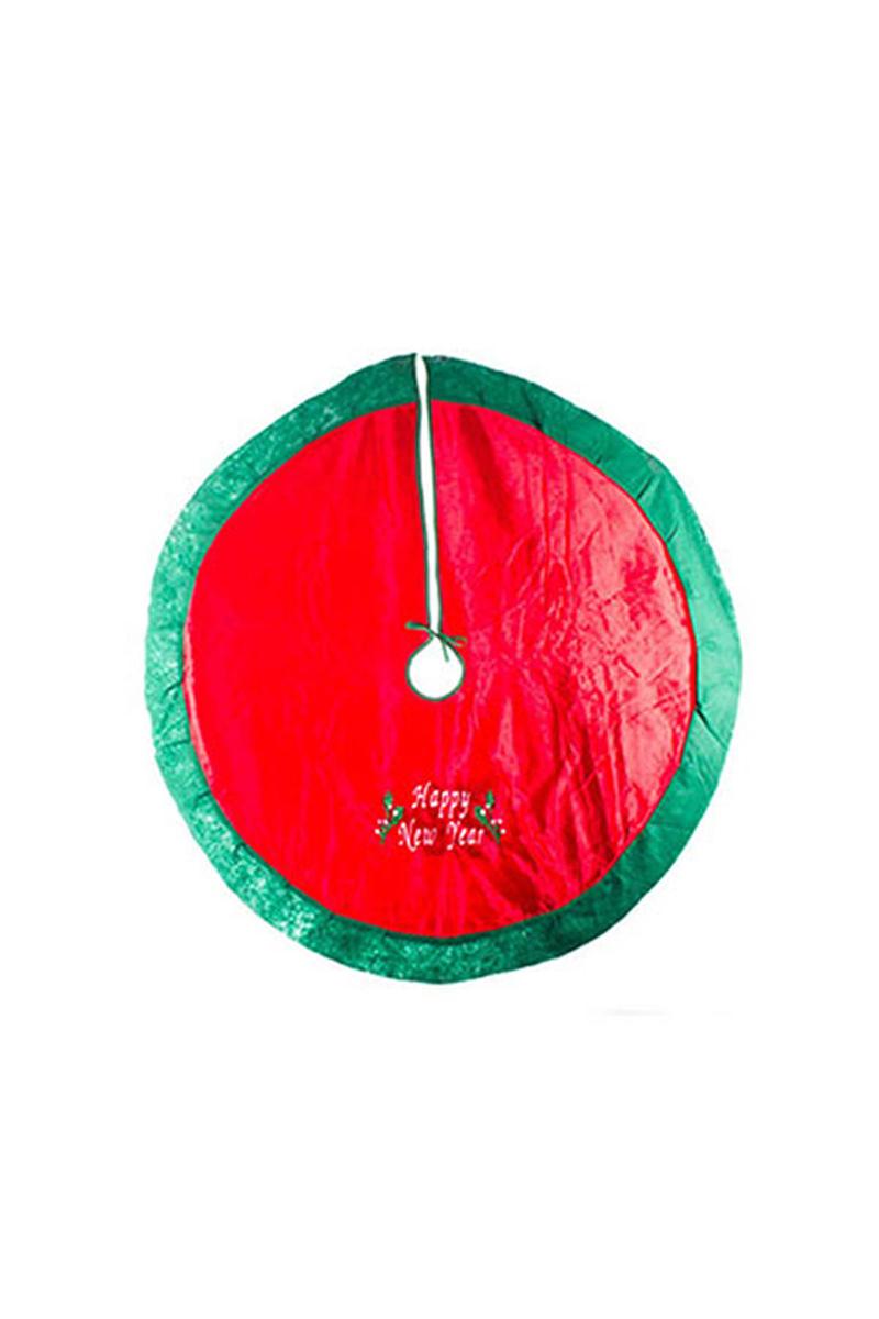 Lüx Kadife Ağaç Altı Örtüsü Happy New Year Baskılı