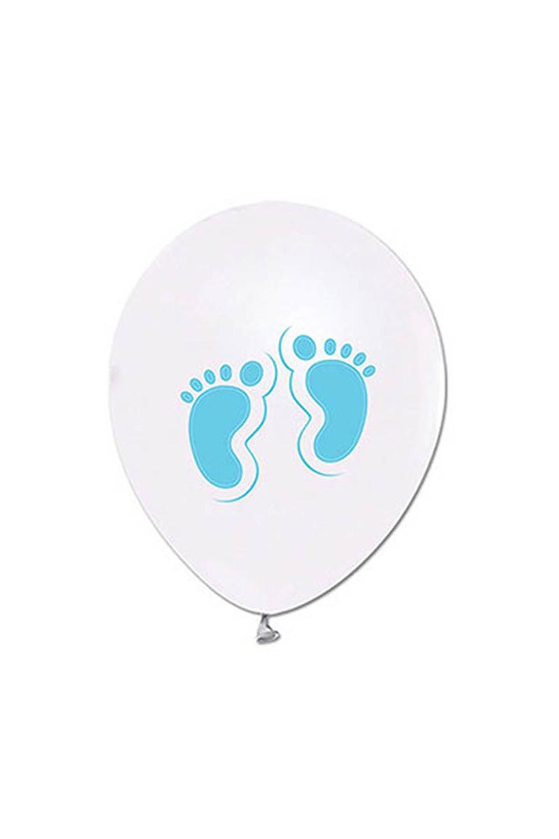 Mavi Ayaklar Baskılı Metalik Beyaz Balon 10lu