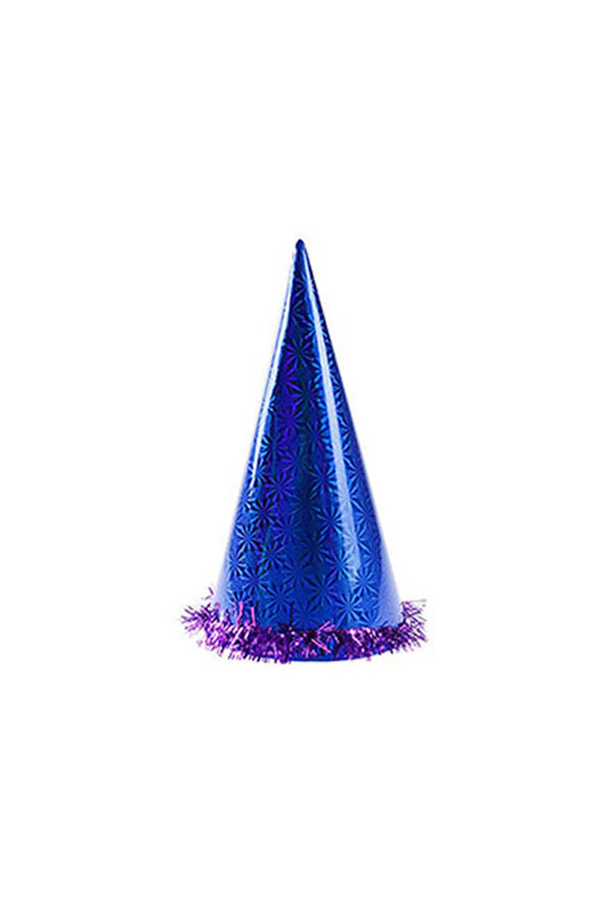 Mavi Holografik Büyük Yılbaşı Şapkası
