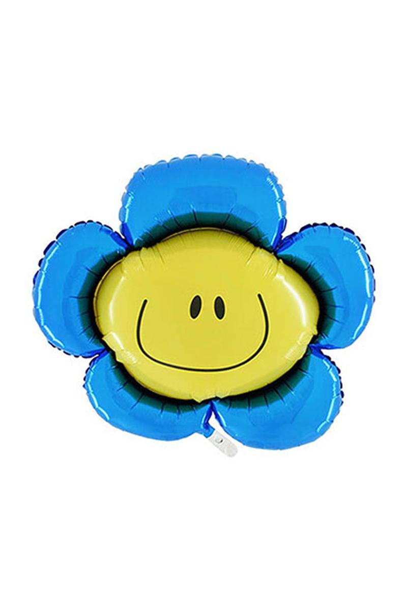 Mavi Papatya Smiley Folyo Balon 82cm 1 Adet