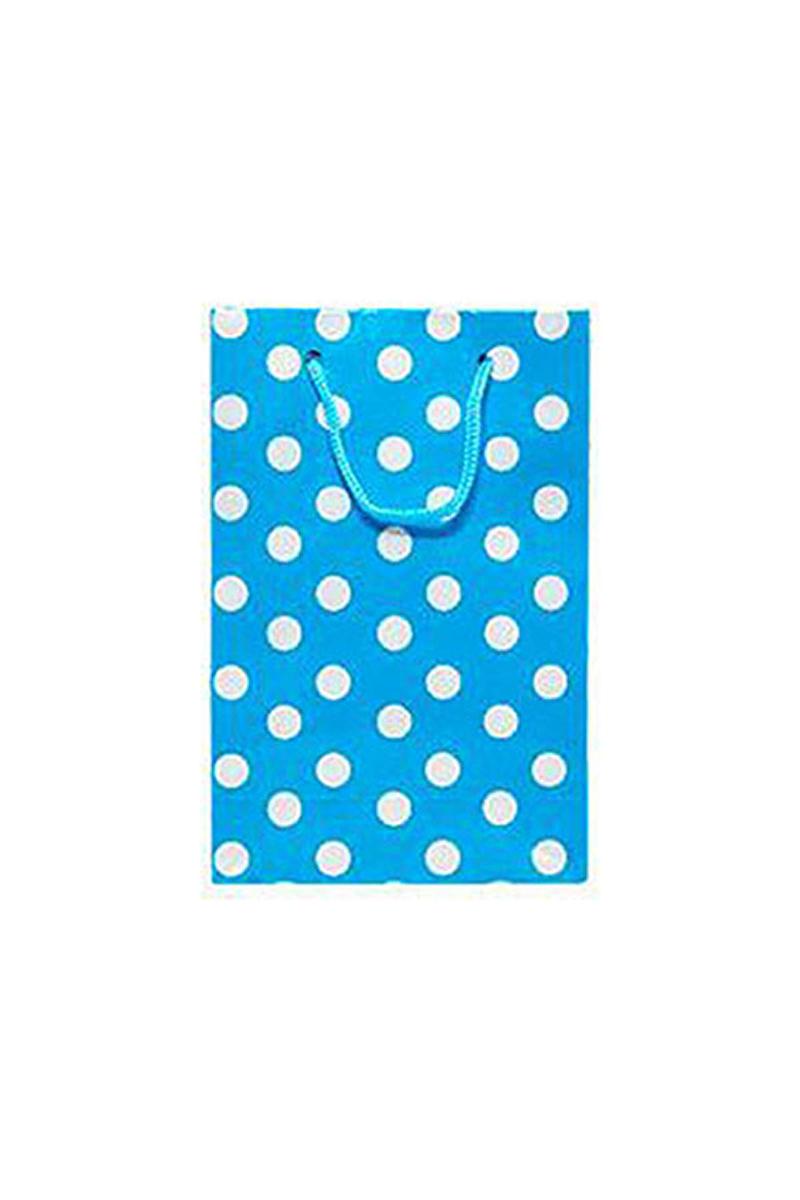 Mavi Puantiyeli Büyük Karton Çanta 17x25cm 25li