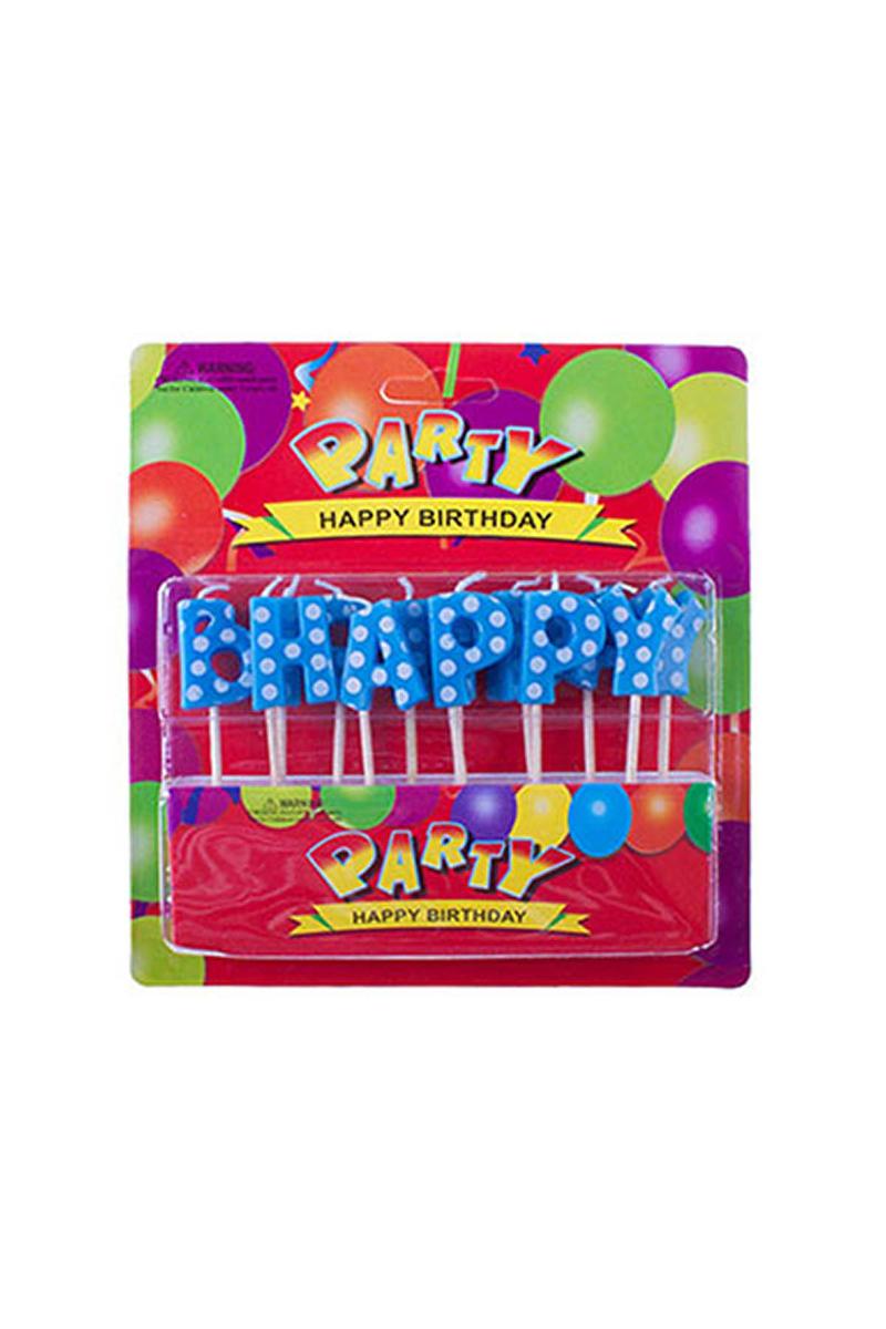 Mavi Puantiyeli Happy Birthday Yazı Mum 1 Adet