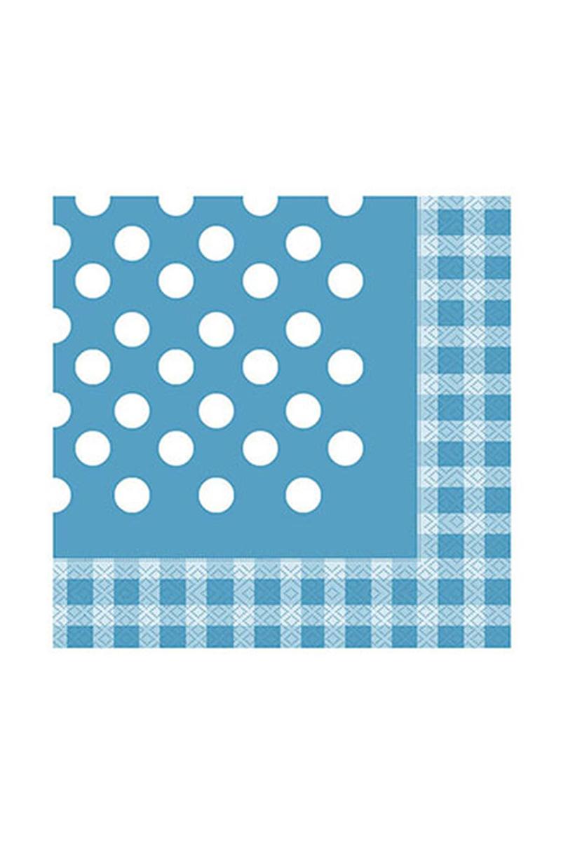 Kağıt Peçete Beyaz Puantiyeli Açık Mavi 40 x 40cm 20li