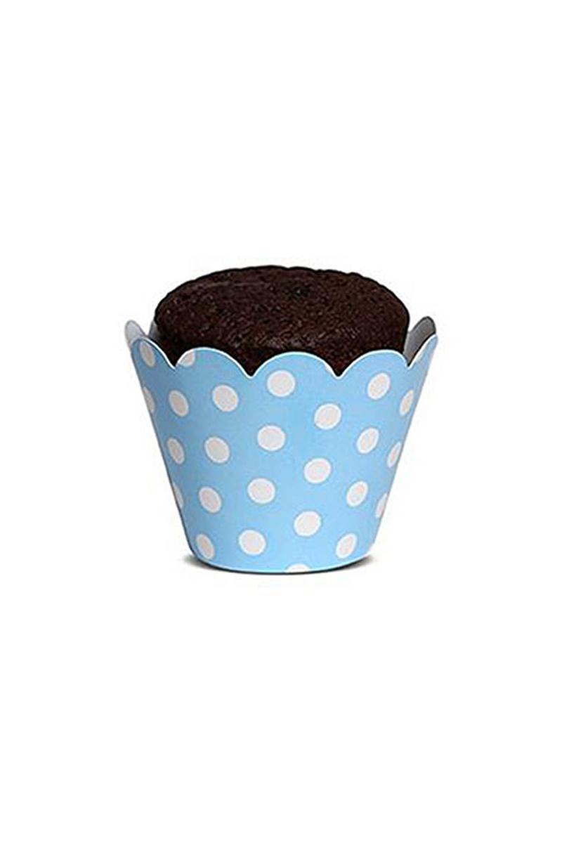 Mavi Puantiyeli Kek Tacı 10 Adet