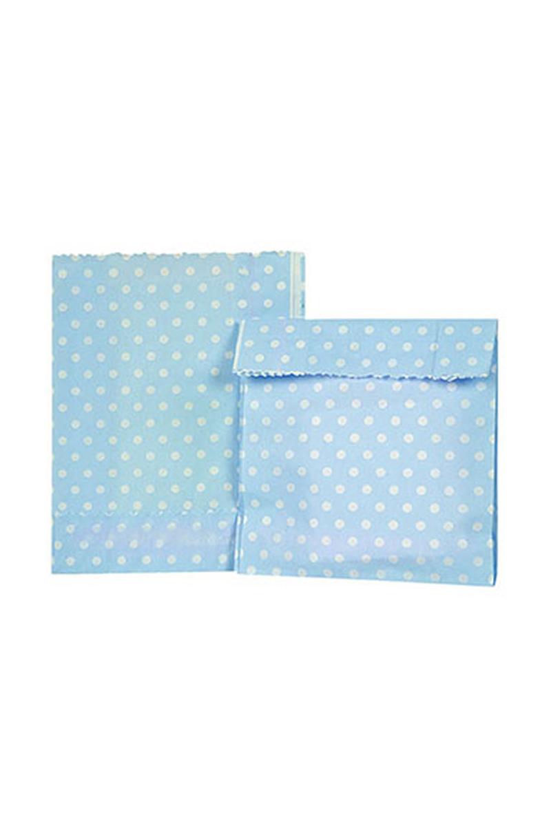 Mavi Puantiyeli Mini Kağıt Şeker Hediye Poşeti 12li