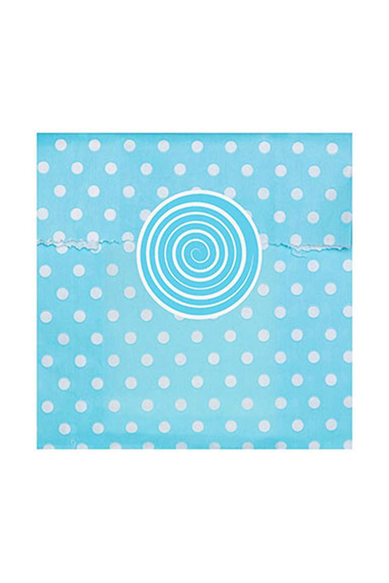 Mavi Puantiyeli Mini Kağıt Şeker Poşeti ve Etiketi - Thumbnail