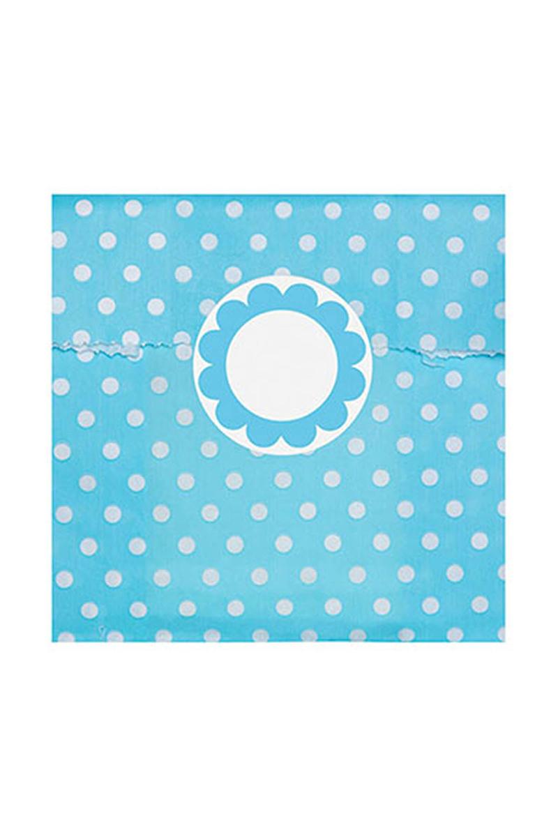 Mavi Puantiyeli Mini Kağıt Şeker Poşeti ve Etiketi