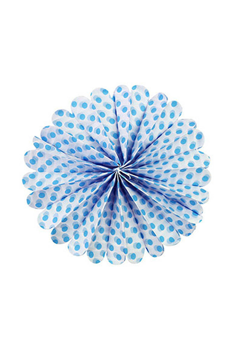 Mavi Puantiyeli Ponpon Süs 40cm 1 Adet
