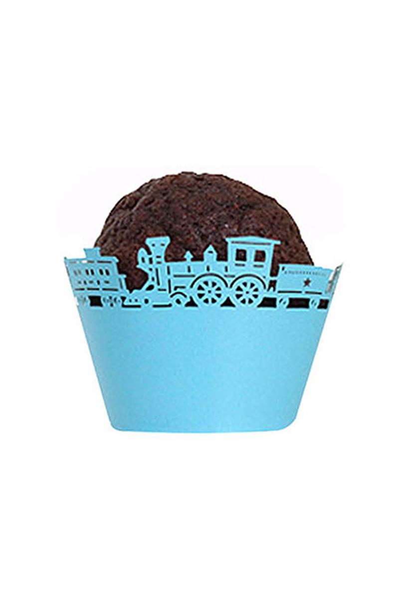 Mavi Tren Kek Tacı 10 Adet