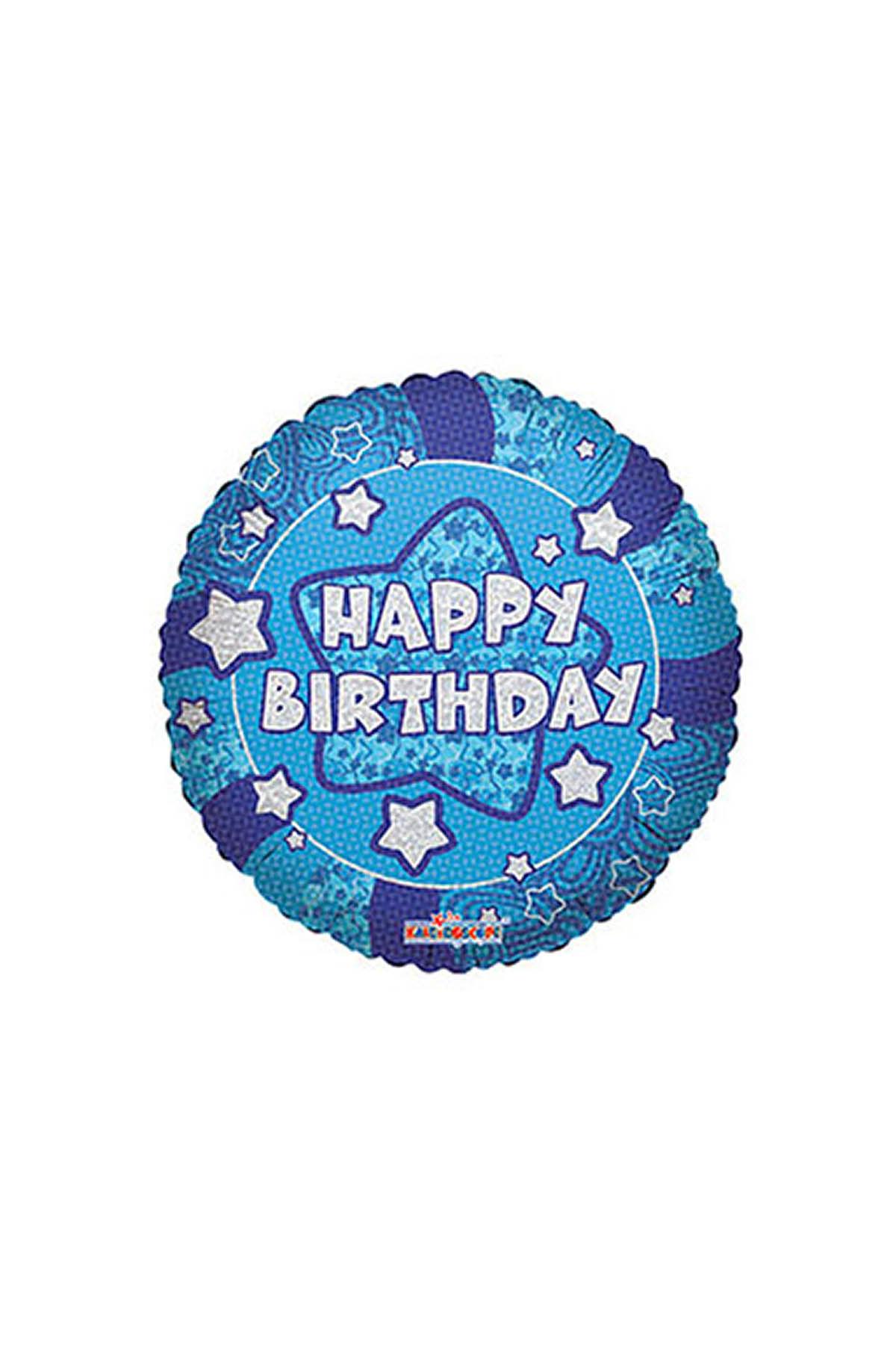 Mavi Yıldızlar Happy Birthday Folyo Balon 45cm