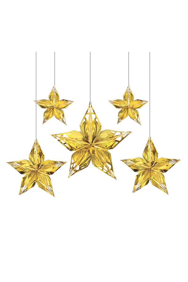 Metalik Altın Pırıltılı Yıldızlar Asma Süs 5li