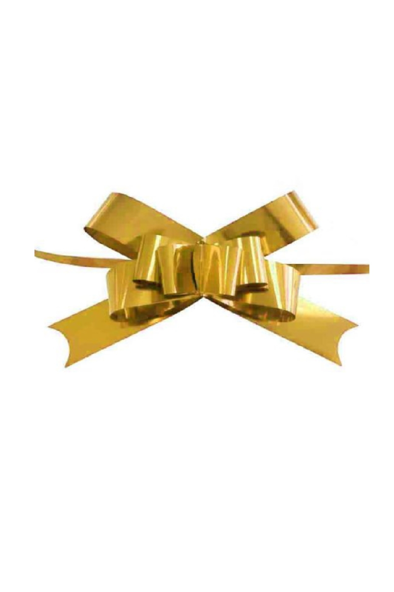 Metalik Altın Pratik Çekme Fiyonk Süs 25li - Thumbnail
