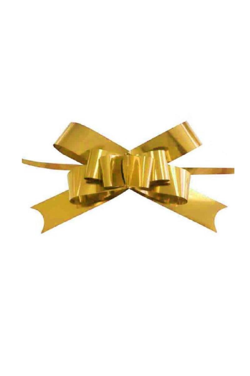 Metalik Altın Pratik Çekme Fiyonk Süs 25li