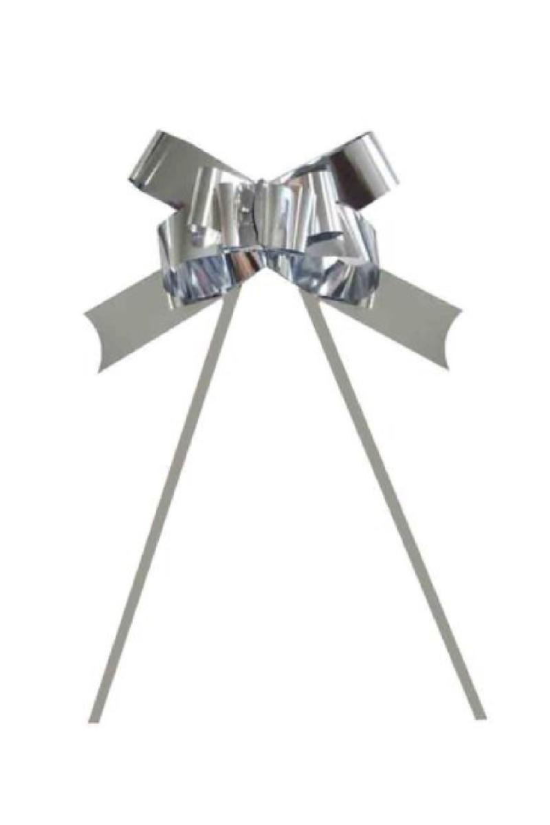 Metalik Gümüş Pratik Çekme Fiyonk Süs 25li - Thumbnail