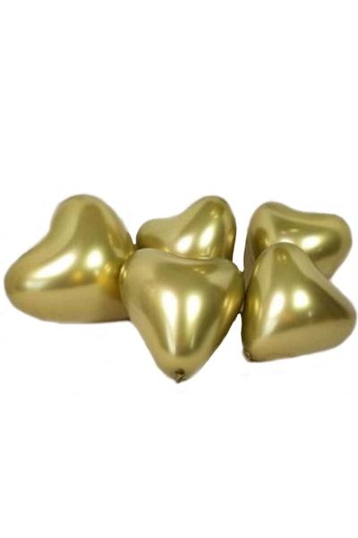 Metalik Kalp Şekilli Krom Balon Altın 40cm (16 inch) 5li