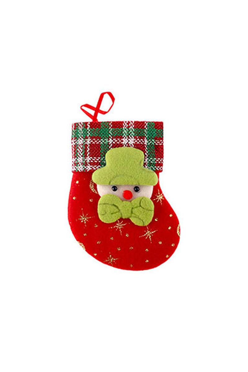 Mini Yılbaşı Çorabı Peluş Asma Süs 1 Adet - Thumbnail