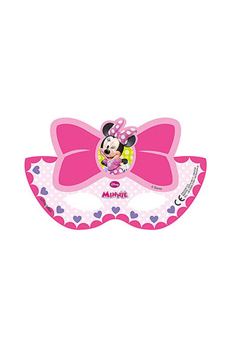 Minnie Pembe Fiyonklu Kağıt Maske 6lı