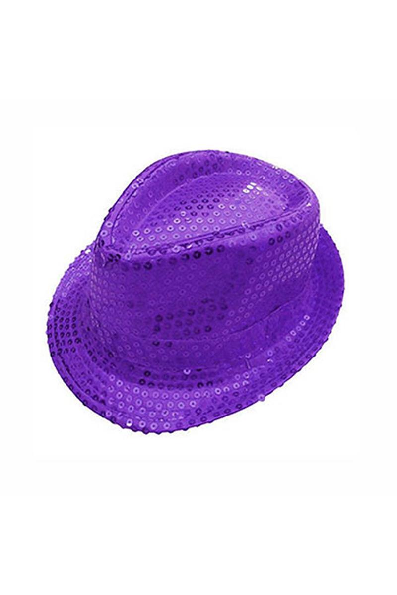 Mor Payetli Fötr Şapka 1 Adet
