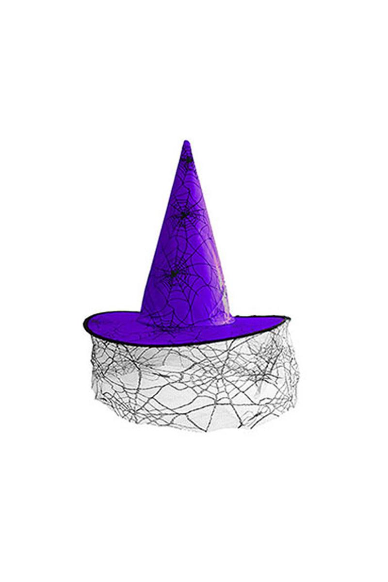 Mor Tüllü Cadı Şapkası 1 Adet