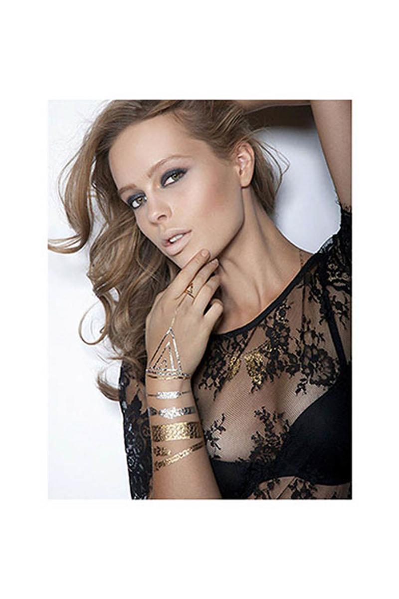 Mücevher Görünümlü Geçici Dövme (Lipstick Jungle) 4lü - Thumbnail