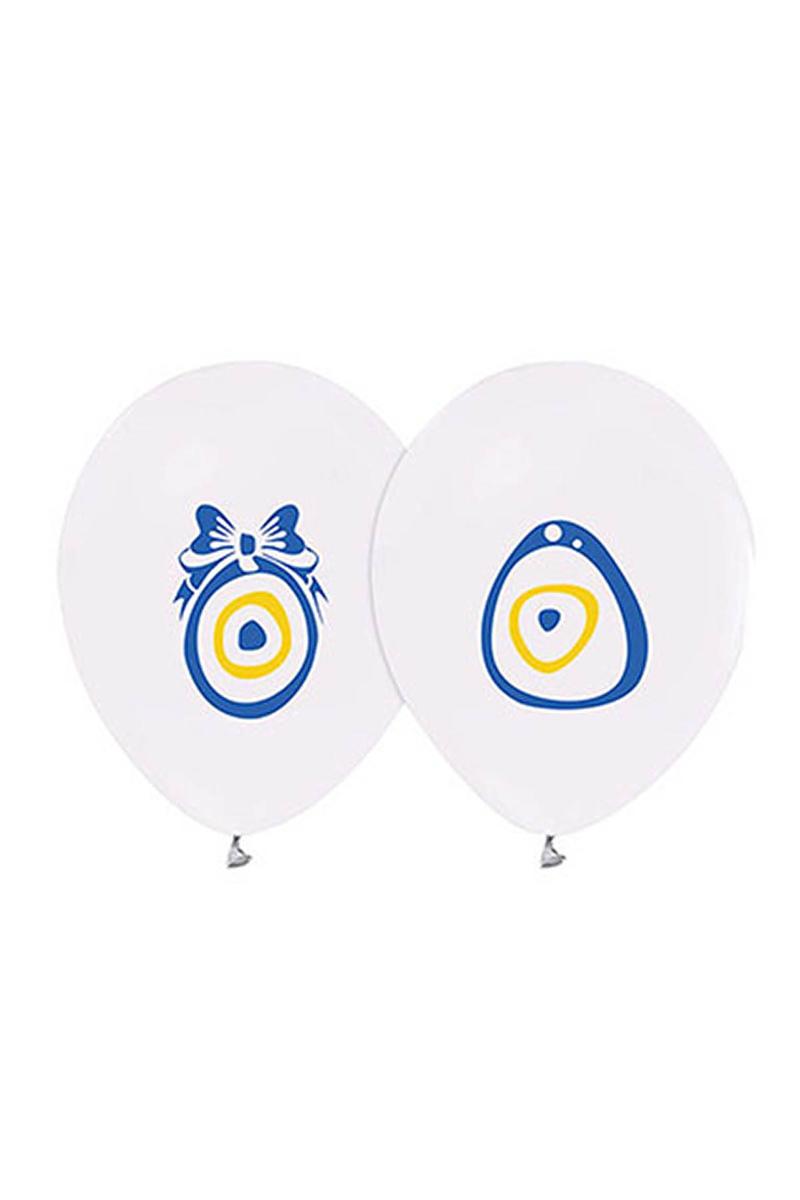 Nazar Boncuklu Baskılı Beyaz Balon 10lu