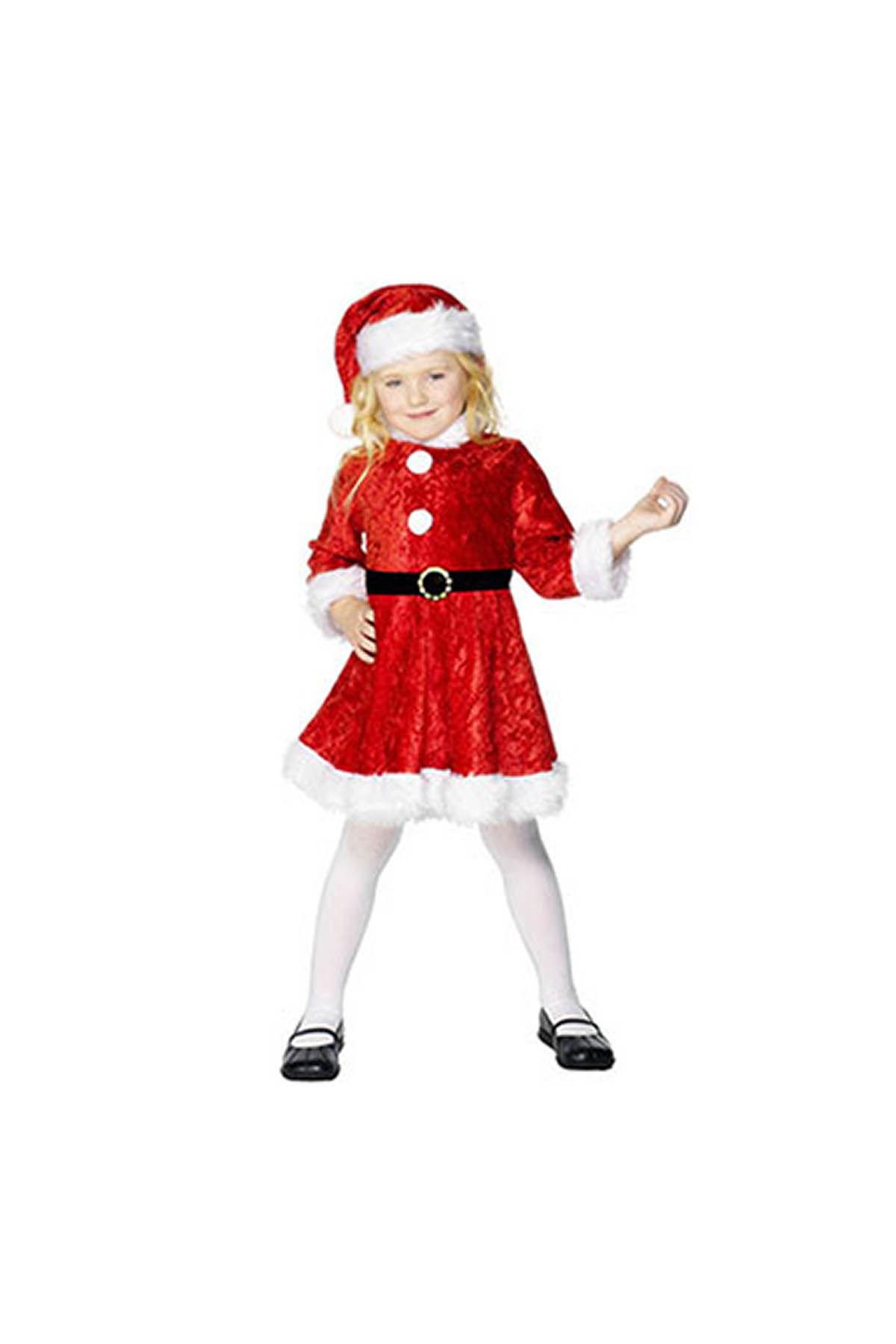 Noel Anne Kadife Kız Çocuk Kostümü 5-6 Yaş