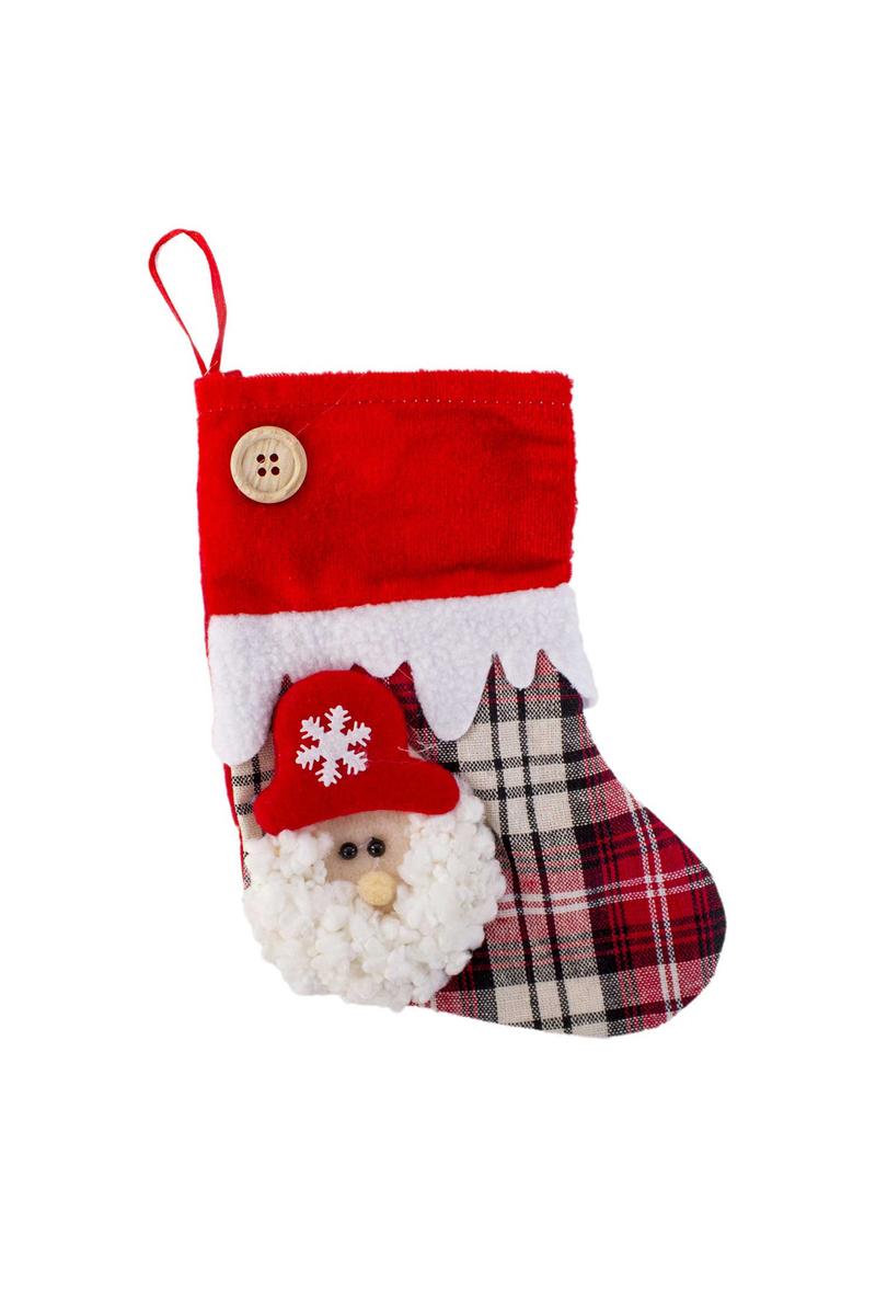 Noel Baba Ekose Desenli Yılbaşı Çorabı 20cm 1 Adet