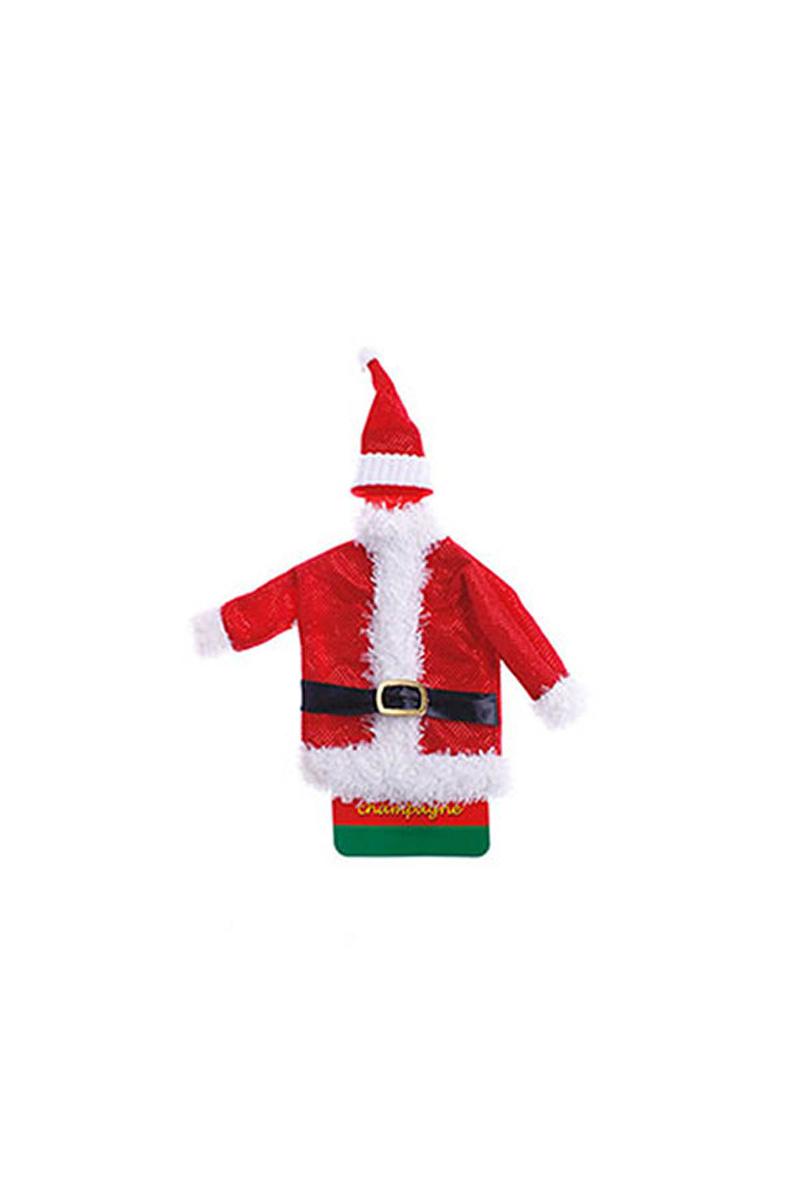 Noel Baba Kısa Şişe Kostümü 1 Adet - Thumbnail
