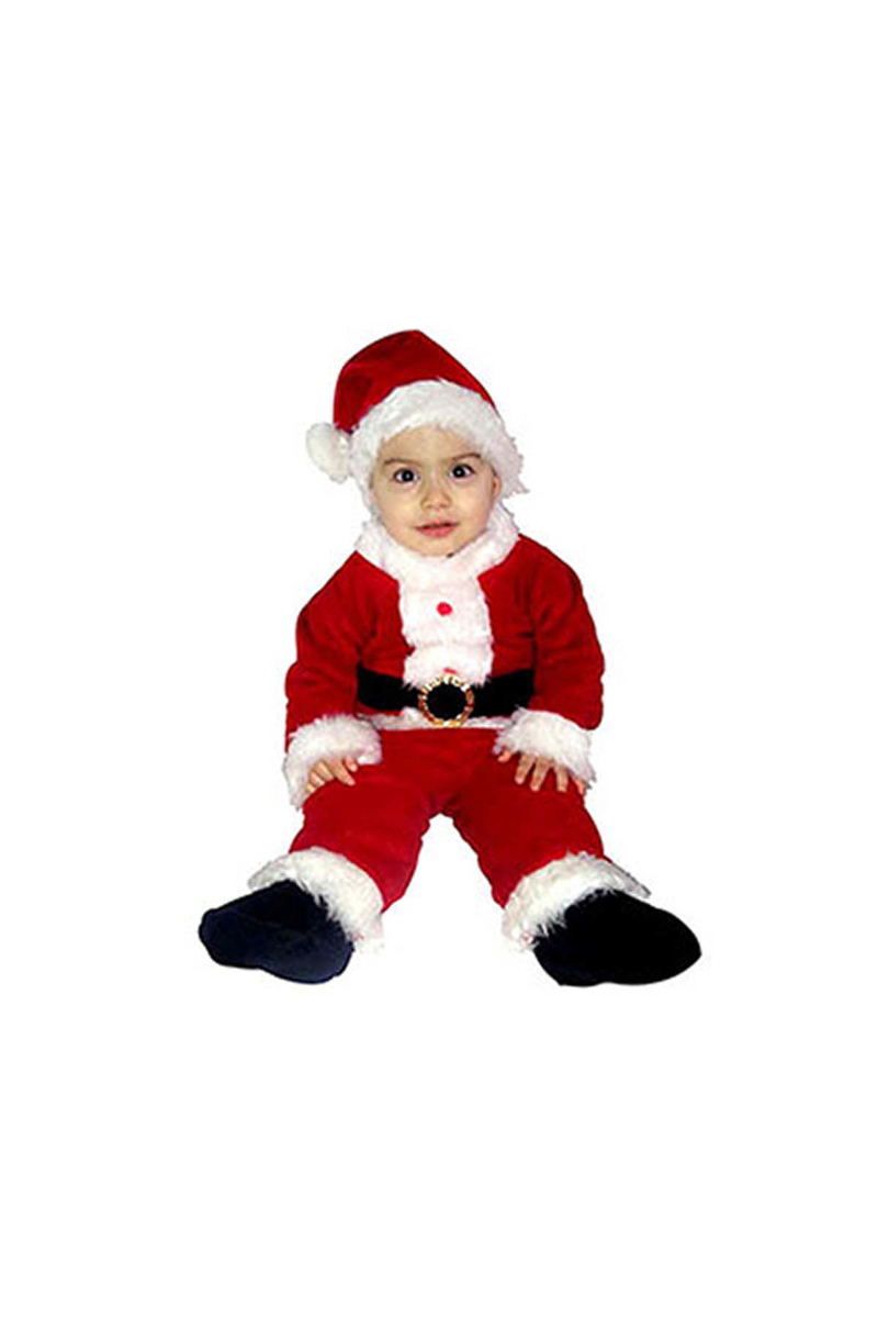 Noel Baba Kız Erkek Uyumlu Bebek Kostümü 1-2 Yaş 1 Adet