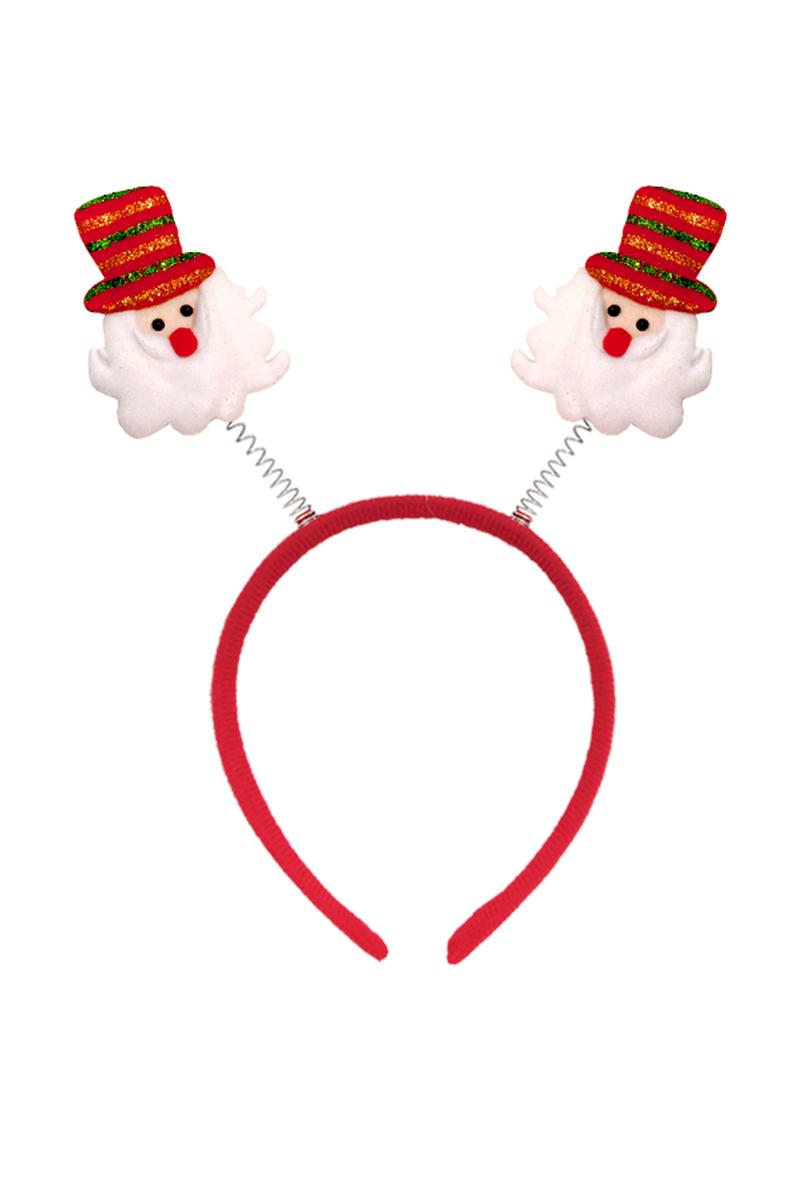 Noel Baba Fötr Şapkalı Yaylı Yılbaşı Taç 1 Adet - Thumbnail