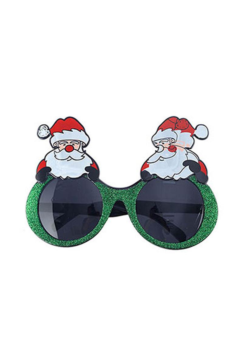 Noel Baba Yeşil Simli Gözlük 1 Adet