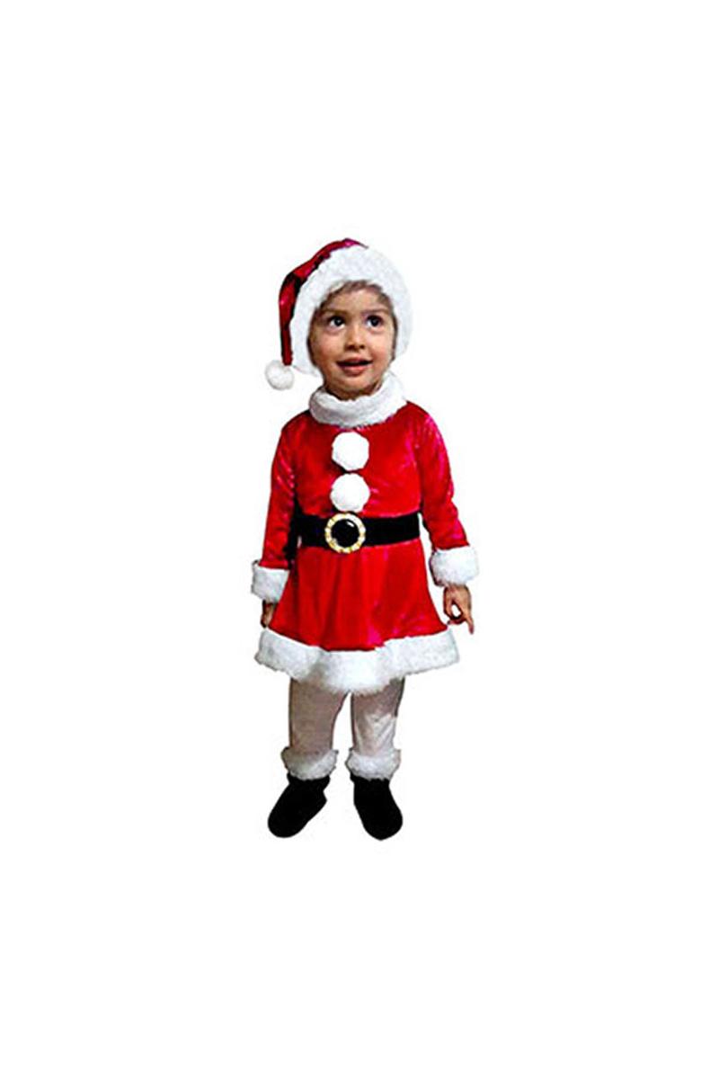 Noel Kız Bebek Kadife Kostüm 1-2 Yaş 1 Adet