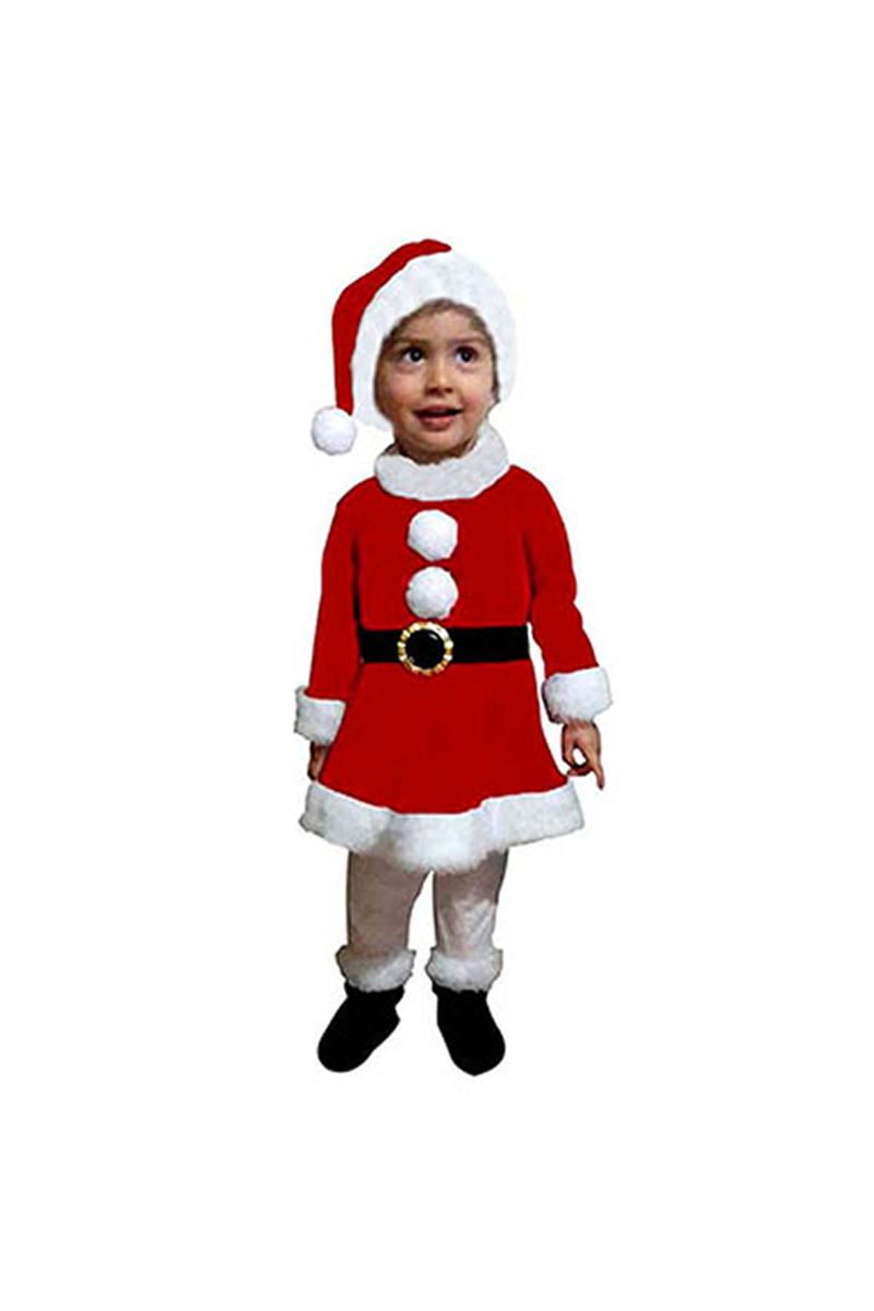 Noel Kız Bebek Polar Kostüm 1-2 Yaş 1 Adet