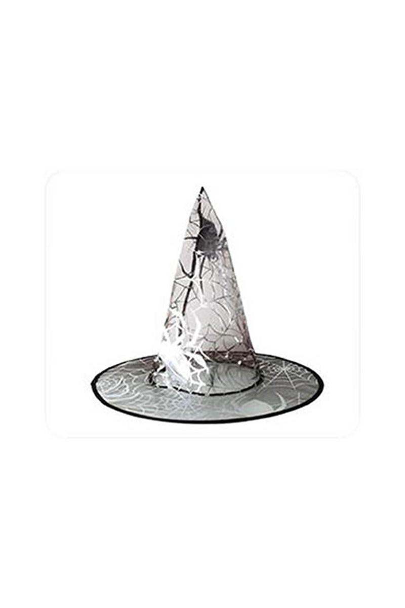 Gümüş Örümcekli Cadı Şapkası 1 Adet