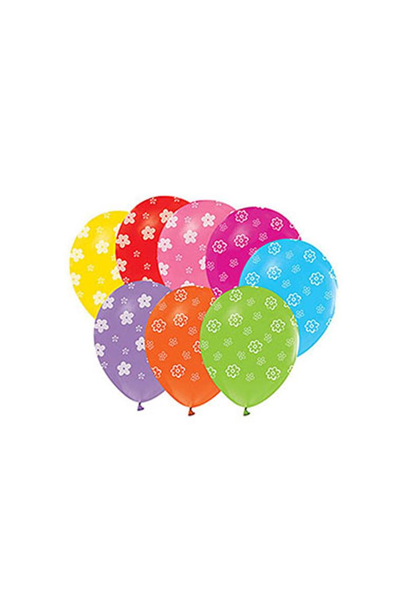 Papatya Baskılı Renkli Balon 10lu