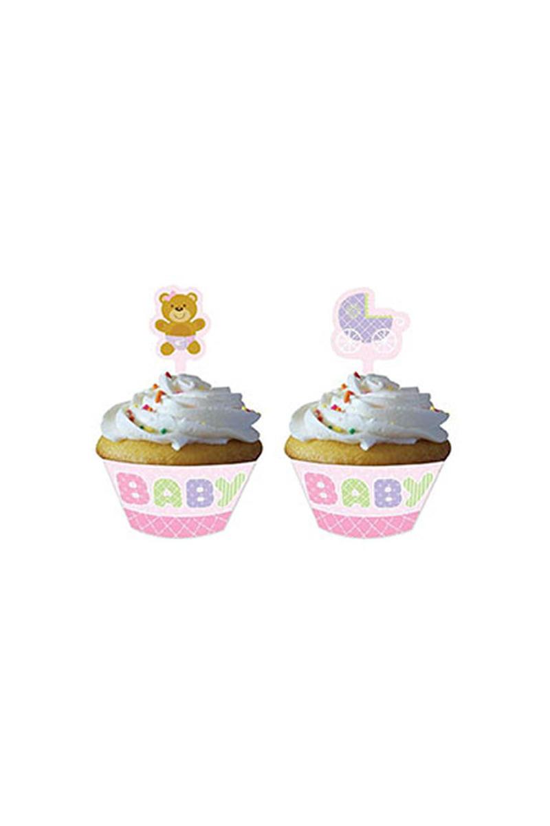 Pembe Bebek Ayıcık Cupcake Kılıf ve Süsü 12li