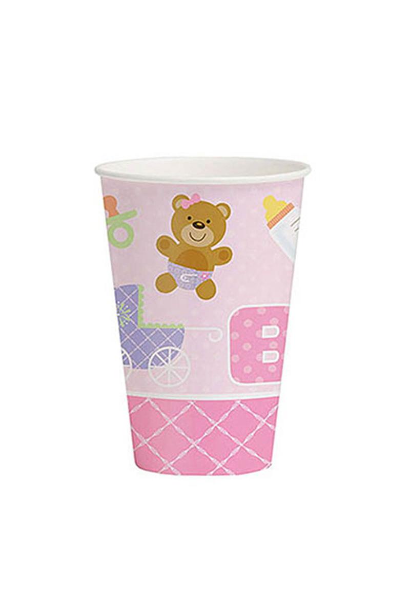 Pembe Bebek Ayıcık Karton Bardak 8li