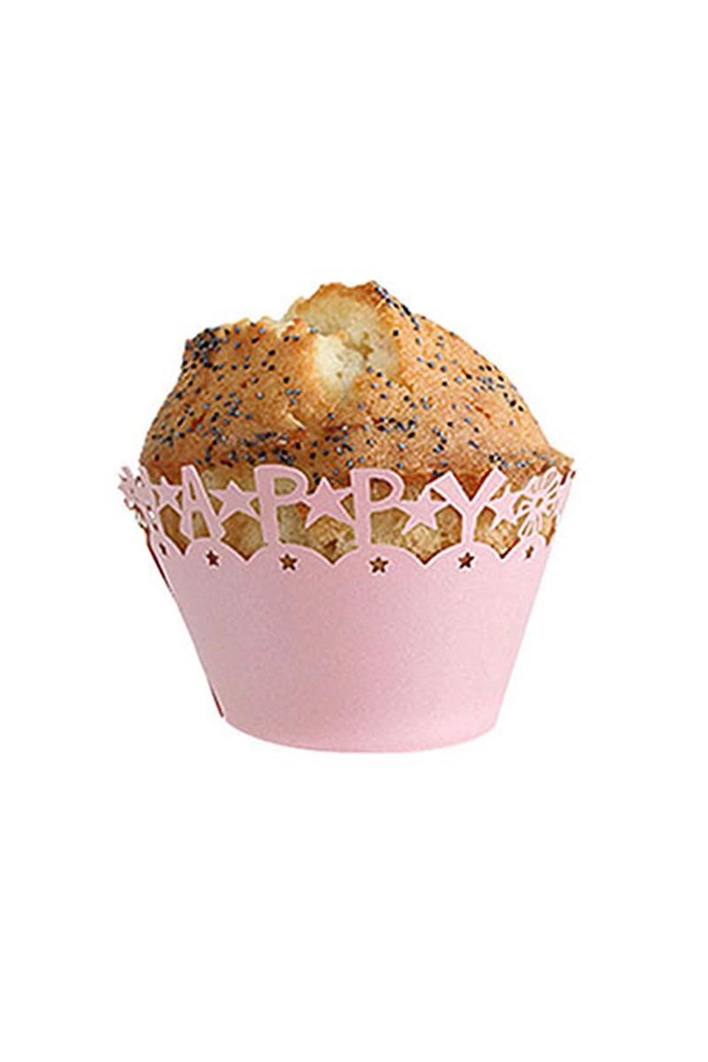Pembe Happy Birthday Kek Tacı 10 Adet