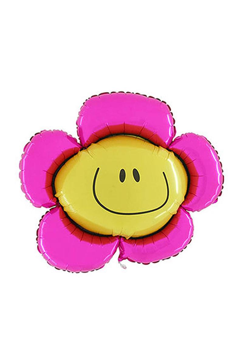 Pembe Papatya Smiley Folyo Balon 82cm 1 Adet