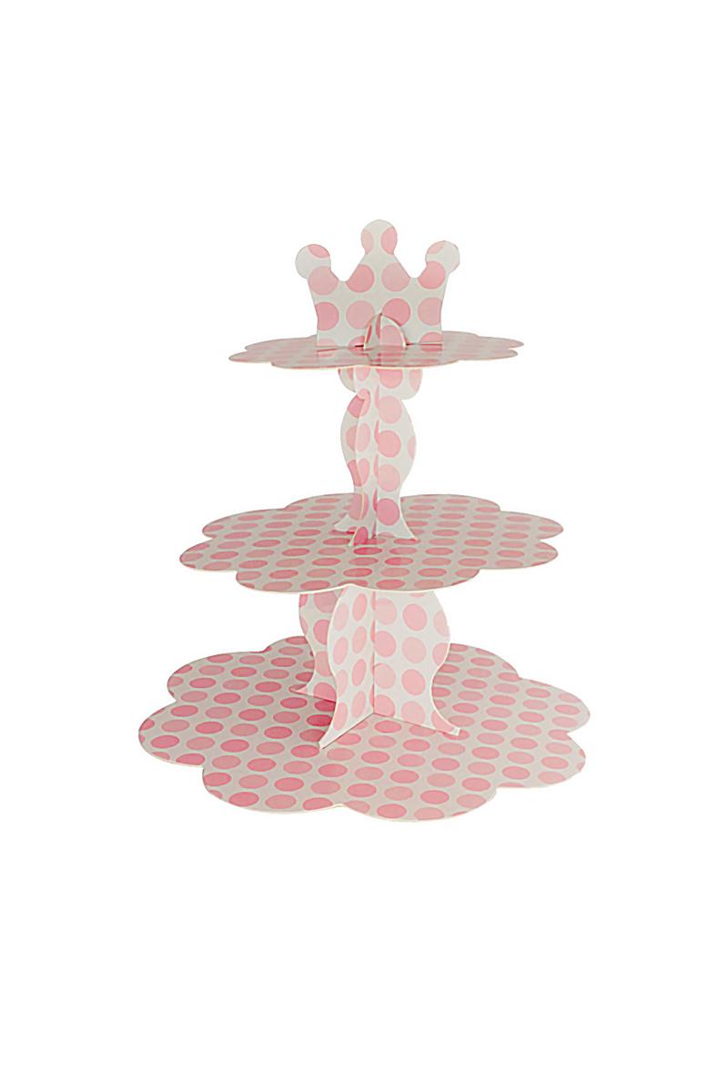 Pembe Puantiyeli Beyaz Metalik Cupcake Standı 3 Katlı 1 Adet