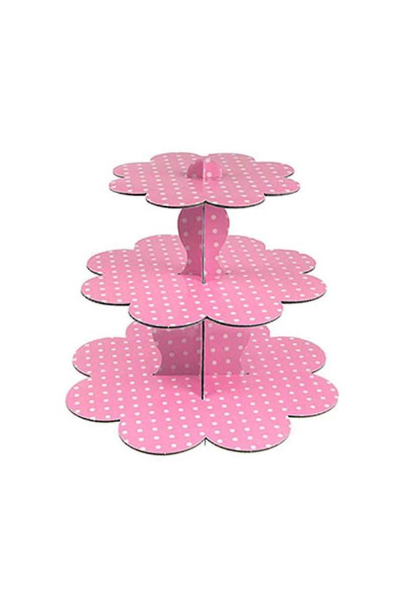 Pembe Puantiyeli Karton Cupcake Standı 3 Katlı 1 Adet